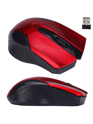 Mouse,Landfox Adjustable 1600DPI 2.4G Optical Wireless Mouse Mice For Laptop PC-Red