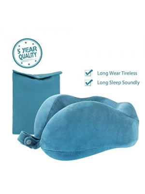 Travel Pillow Neck Pillow Travel size U Memory Foam For Traveling By Airplane Car With Comfortable Velvet Cover(Ocean Blue)