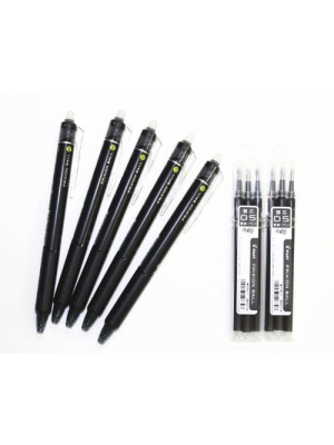 Pilot Frixion Ball Knock Retractable Erasable Gel Ink Pens,fine Point, - 0.5 Mm - Black Ink- Value set of 5 & 6 Gel Ink Pen Refill Pack