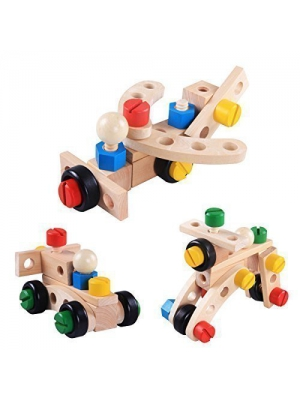Rolimate DIY 3D Changeable Nut Car Building Toy for kids - 30 pcs Wooden Puzzle Blocks, Early Education & Play Toys for tots 3 years old and up