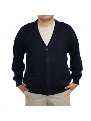 ALPACA CARDIGAN JERSEY BRIAD Navy Blue V neck buttons and Pockets made in PERU