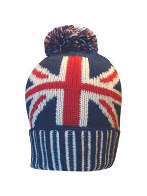 Men's Great Britain Union Jack Thermal Knitted Winter Beanie Bobble Hat