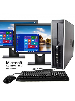 HP Elite Desktop Computer, Intel Core i5 3.1GHz, 8GB RAM, 1TB SATA HDD, Keyboard & Mouse, Wi-Fi, Dual 19in LCD Monitors (Brands Vary), DVD-ROM, Windows 10, (Upgrades Available) (Renewed)
