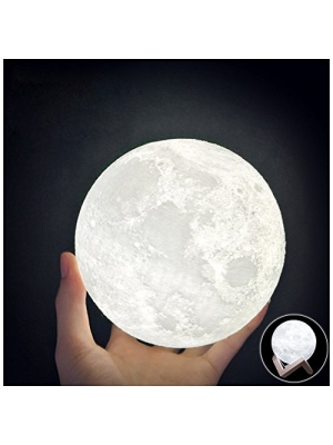 HaloVa WCH8141 Night Light 3D Printing Moon Lamp, Lunar USB Charging Night Light, Touch Control Brightness Two Tone