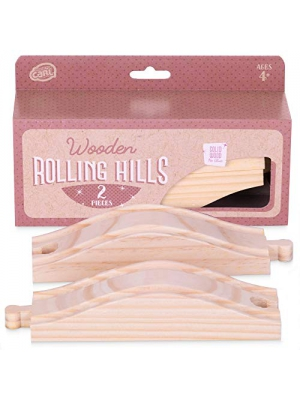Rolling Hills Wooden Train Track (2-Pack) | Connecting Slope Elevation Pieces | Compatible Expansion Track for Major Hobby and Toy Train Brands