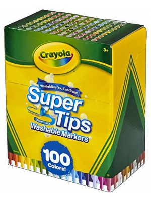 Crayola Super Tips Marker Set, 100 Washable Markers, Assorted Colors, Gift for Kids