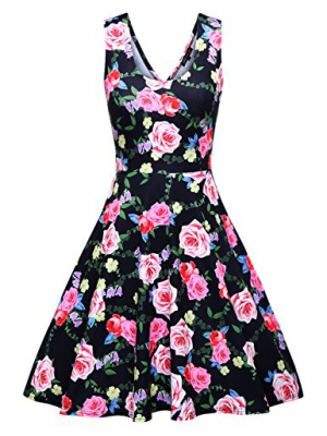OMEYA WL Womens Casual Fit and Flare Floral Sleeveless Dress