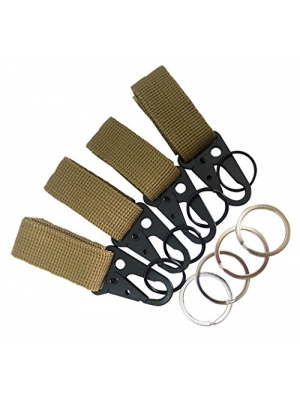 "Faocean 4 pcs Tactical Nylon Velcro Clips Belt Keeper with 1"" HK Hooks Keychain Buckle for Molle Strap Attachement , Black Khaki Green"