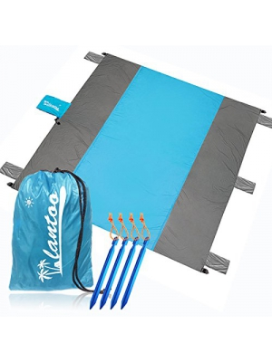 Lantoo Sand Proof Beach Blanket Oversized, Compact Sand Free Outdoor Beach Picnic Blanket Mat with 9'x 10' for 7 Adults, Waterproof Soft Parachute Ripstop Nylon, 4 Stakes, Machine Washable
