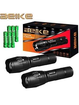 Beike 2 Pack 1000 lumens Tactical Flashlights, Super Bright Handheld Outdoor CREE LED Torch Flashlight with Adjustable Focus 5 Light Modes for Camping Hiking Emergency(AAA Batteries Included)