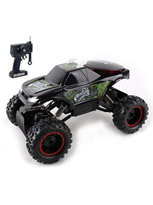 KidiRace Rock Crawler Remote Control Black RC Car - All Terrain - With 3 Powerful Motors - Off Road Race Car