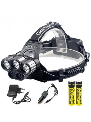 Garberiel Super Bright Heavy Dute Headlamp - Rechargeable Headlamp Flashlight T6, 5000Lm, 6 Modes, Bright -Best For Camping, Fishing, Running, Reading, Repair