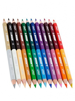 Jolly Supersticks Premium European Colored Pencils Double-Ended Pencils; 24 colors in 12 pencils, perfect for Adult and Kids Coloring