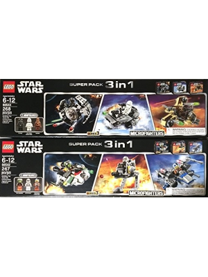 Lego Star Wars Super 6 Pack Microfighter Chewbacca Gunship/X-Wing Fighter/Ghost Ship/Snowspeeder/Tie Fighter/AT-At Series 3 - 66542 + 66543
