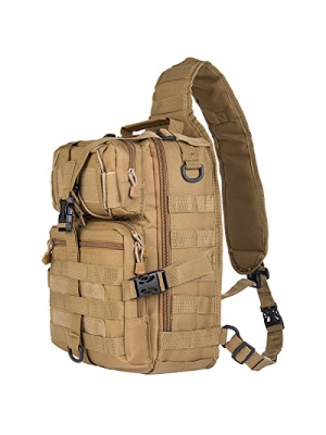 Hikingworld 20L Small Tactical MOLLE Sling Pack - Compact and Versatile - Shoulder Pack, Backpack, Chest Pack, or Hand Carry - Military Assault Style Rucksack.