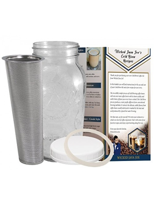 Cold Brew Coffee Maker - 2 Quart - Classic Ball Mason Jar and Durable Stainless Steel Filter Makes Amazingly Rich Cold Brewed Iced Coffee