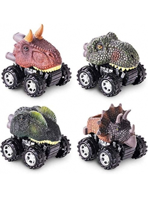 Pull Back Dinosaur Toys 4-pack for 2 3 4 5 Year Old Boys and Girls Remote Control Dinosaurs Cars For Boys 3-5 Toy Cars with Big Tire Wheel, Creative Gifts for Kids, Mini Dinosaur Figures Cars for Kids