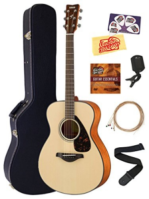 Yamaha FS800 Solid Top Small Body Acoustic Guitar - Natural Bundle with Hard Case, Tuner, Strings, Strap, Picks, Austin Bazaar Instructional DVD, and Polishing Cloth