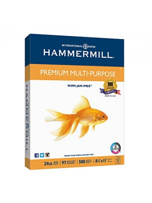 Hammermill Paper, Premium Multi-Purpose Paper Poly Wrap, 24lb, 8.5 x 11, Letter, 97 Bright, 500 Sheets/1 Ream (105810) Made In The USA