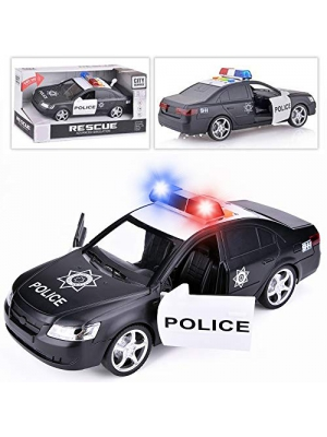 Liberty Imports Friction Powered Police Car 1:16 Kids Plastic Toy Rescue Emergency Cop Vehicle with Lights & Siren Sound Effects