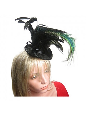 Black Glitter Mini Top Hat Magician Peacock Feather Fascinator Hair Clip