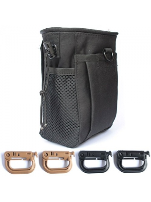 Masonicbuy Tactical Gear Bundles Molle Drawstring Magazine Dump Pouch and 4 Piece Grimloc Locking D-Ring, Military Adjustable Belt Utility Fanny Hip Holster Bag Outdoor Ammo Pouch, Black