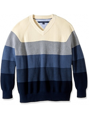 Tommy Hilfiger Men's Big and Tall Oakley Ombre Vneck Sweater