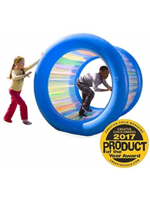 Roll With It Giant Heavy Duty Colorful Inflatable Rolling Wheel, Outdoor Active Play Toy for Kids and Adults, Inside Diameter is 51