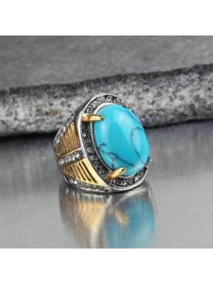 Fashion Stainless Steel Men's Blue Turquoise Stone Antique Ring US Size 7 8 9 10 (10)