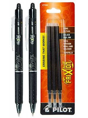 Pilot FriXion Clicker Retractable Gel Ink Pens, Eraseable, Fine Point 0.7mm, Black Ink, Pack of 2 with Bonus Refills