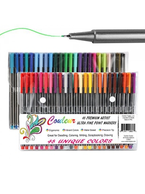 Fine Line Markers, 48Ct Fine Tip Washable Markers, Assorted Colors, Perfect Art Markers for Kids and Adult Coloring Books – Comes with Convenient Carry Case!!