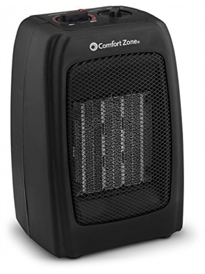 Bovado USA 166648 Ceramic Space Heater, Personal Warming Fan with Adjustable Thermostat, Carrying Handle & Safety Features - by Comfort Zone (Black)
