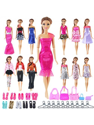UCanaan 35 Pcs Doll Accessories for Barbie Include Randomly 10 Pcs Doll Clothes for Barbie Party Grown Outfits Dresses and 10 Pairs Doll Shoes, 5 Pcs Doll Bags, 10 Pcs Hangers-The Great Birthday Gifts