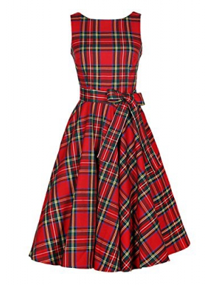 Kimring Women's 1950's Vintage Plaid Belted A-Line Picnic Party Cocktail Dress