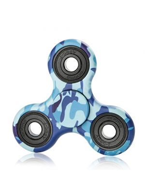 NOING Tri Fidget Hand Spinner Camouflage Multi-Color Double Side Printed, EDC Focus Toy For Kids & Adults (Blue Camouflage)