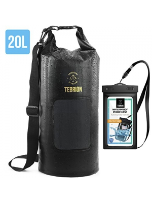 TEBRION 10L/20L/10L+20L Waterproof Dry Bag with Waterproof Phone Case Set Roll Top Sack Keep Gear Dry and Safe Perfect for Kayaking, Rafting, Boating, Hiking, Camping and Fishing, Black PVC