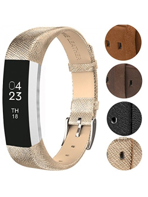 Fitbit Alta Wristband/Fitbit Alta Band/Fitbit Alta Bracelet/Fitbit Alta Replacement Band/Fitbit Alta Accessory, VOMA Design Genuine Leather/Soft Silicone/Stainless Steel