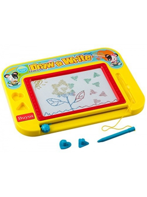 Buyus [Mini - Travel Size] Erasable Imaginarium Color Magnetic Drawing Board (Magna Doodle) for Kids/ Toddlers/ Babies with 3 Stamps and 1 Pen (Yellow/Red/Blue)