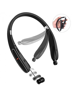 Bluetooth Headphones, Bcway [20 hours playtime] Wireless Foldable Neckband Earphone with Mic, Sweatproof Noise Canceling Bluetooth Headset with Retractable Earbuds