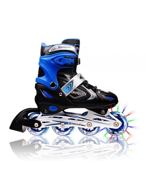 Adjustable Inline Skates for Kids, Featuring Illuminating Front Wheels, Awesome-looking, Safe and Durable Rollerblades, Latest Stylish Design, Perfect for Boys and Girls, 60-day Guarantee!