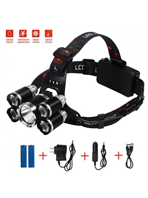 Brightest and Best LED Headlamp American Design 8000 Lumen flashlight-IMPROVED CREE LED Rechargeable 18650 headlight flashlights Waterproof Hard Hat Light Bright Head Lights Camping Running headlamps