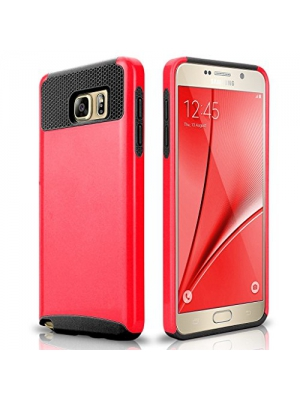 Note 5 Case, Galaxy Note 5 Case, Asstar Hybrid Dual Layer Plastic Hard Shell Flexible TPU Protective Shock Absorbing Impact Defender Slim Case Cover For Samsung Galaxy Note 5 (Red black)