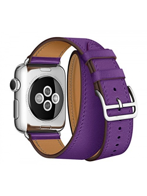 LoveBlue For Apple Watch Band The Extra Long Genuine Leather Band Double Tour Bracelet Leather Watch band for Apple iWatch (42mm, Purple)