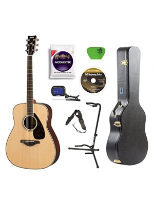 Yamaha FG830 Rosewood Acoustic Guitar with Hard Shell Case Guitar Stand Tuner Strings Picks Strap and DVD