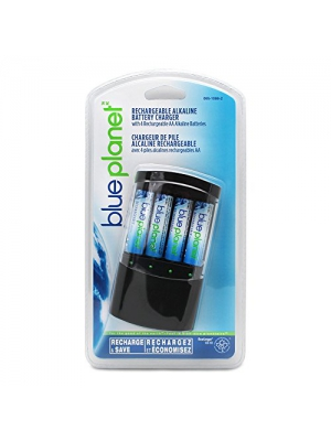 BluePlanet Green Energy Battery Charger & 4 AA Rechargeable Alkaline Batteries