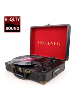GOODNEW vinyl record player Turntable with Built in Speakers Support Headphone & RCA Output and AUX (3.5mm) input Jack (black, record player)