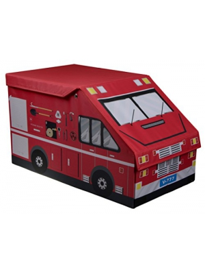 Kids XL Fire Truck Collapsible Toy Storage Organizer by Clever Creations | Toy Box Folding Storage Ottoman for Kids Bedroom | Perfect Size Toy Chest for Books, Kids Toys, Baby Toys, Baby Clothes
