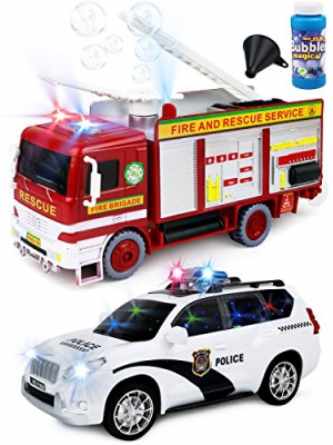 Kiddie Play Battery Operated Bump and Go Toy Bubbles Fire Engine Truck and Police Car Play Set for kids with Siren and Lights