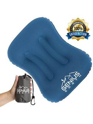 Genius Earth Inflatable Camping- Backpacking Pillow. Compressible, Portable Air Pillow for Head, Neck, Lumbar Comfort. Ultralight-Compact For Car, Beach, Travel, Hammock. Best for Women, Men and Kids