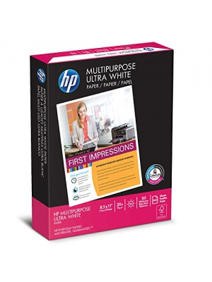 HP Printer Paper, Multipurpose Ultra White, 20lb, 8.5 x 11, Letter, 96 Bright - 500 Sheets/1 Ream (112000R) Made In The USA